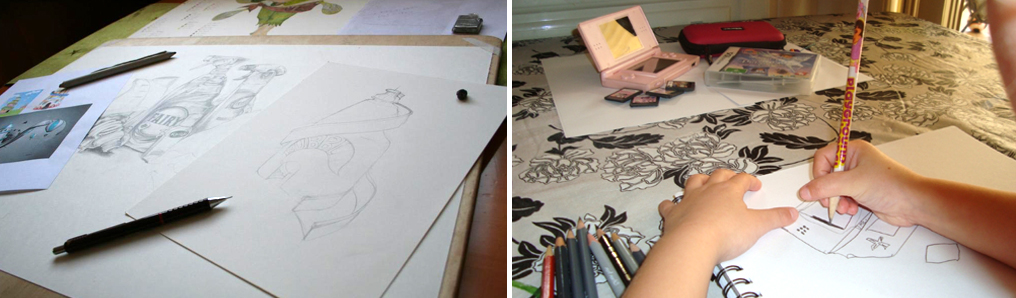 Students artwork in progress - online art courses